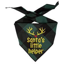 Christmas Bandana - Black & Green Plaid Flannel Dog Bandana  - SANTA'S LITTLE HELPER