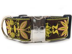 Venice Olive Extra Wide Dog Collar