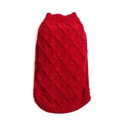 Red Chenille Mockneck Sweater