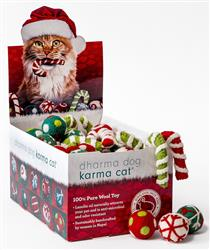 Counter Display, Christmas Theme Wool Cat Toys, 80 Assorted Toys