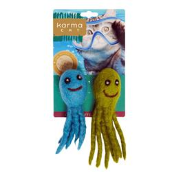 Octopus Wool Cat Toys, Pack of 2 Assorted Toys