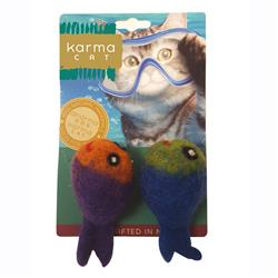 Fish Wool Cat Toys, Pack of 2 Assorted Toys