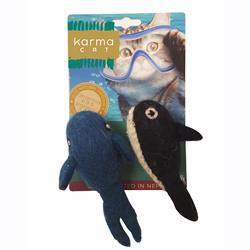 Whale & Orca Wool Cat Toys, Pack of 2 Assorted Toys