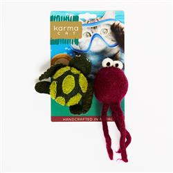 Turtle & Jellyfish Wool Cat Toys, Pack of 2 Assorted Toys
