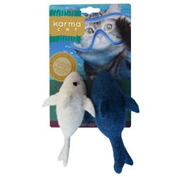 Dolphin Wool Cat Toys, Pack of 2 Assorted Toys