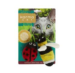 Ladybug & Bee Wool Cat Toys, Pack of 2 Assorted Toys