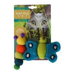 Caterpillar & Butterfly Wool Cat Toys, Pack of 2 Assorted Toys