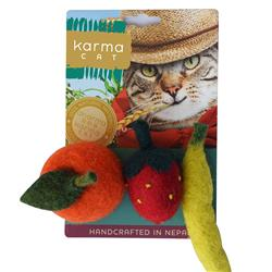 Fruits Wool Cat Toys, Pack of 3 Assorted Toys