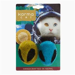 Alien Head Wool Cat Toys, Pack of 2 Assorted Toys
