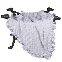 Baby Ruffle Dog Blanket: Silver