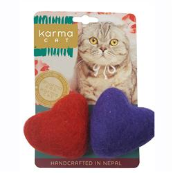 Hearts Wool Cat Toys, Pack of 2 Assorted Toys