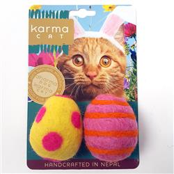 Easter Egg Wool Cat Toys, Pack of 2 Assorted Toys