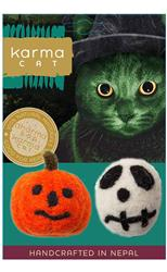 Skull & Jack-o-Lantern Wool Cat Toys, Pack of 2 Assorted Toys