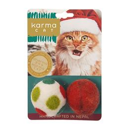 """1.5"""" Holiday Balls, Wool Cat Toys, Pack of 2 Assorted Toys"""