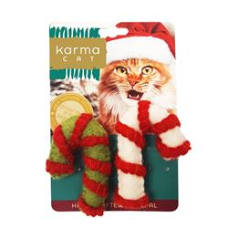 Candy Cane Wool Cat Toys, Pack of 2 Assorted Toys