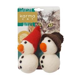 Snowman Wool Cat Toys, Pack of 2 Assorted Toys
