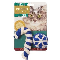Blue Holiday Ball & Cane Wool Cat Toys, Pack of 2 Assorted Toys