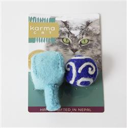 Hanukkah Theme Wool Cat Toys, Pack of 2 Assorted Toys