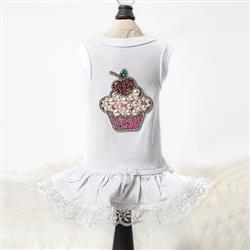 Lil Miss Cupcake Dog Dress: White