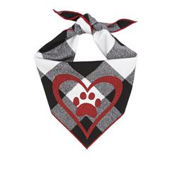 Valentines Bandana | Valentine Bandana, Black Luxe Flannel Plaid dog bandana with Red Heart