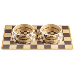 NEW! Drop Ship Bundle #42 - Checker Chewy Vuiton Bowls & Mat