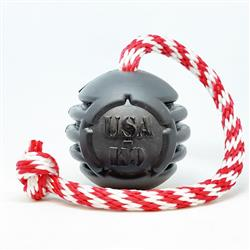 USA-K9 Magnum Black Stars and Stripes Ultra-Durable  Rubber Chew Toy, Reward Toy, Tug Toy, and Retrieving Toy