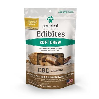 Edibites Calming Soft Supplements PB Carob Swirl by Pet Releaf