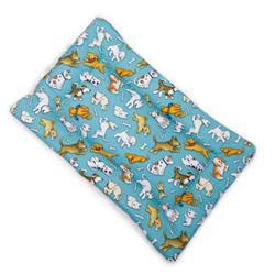 Love Dog Teal Cotton Fabric Flat Pet Bed
