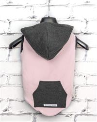 """Holly"" Bamboo Fleece Sleeveless Dog Hoodie (pink/grey fleece)"