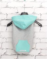 """Skye"" Bamboo Fleece Sleeveless Dog Hoodie (turquoise/grey)"
