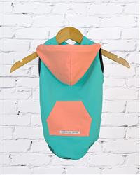 """Malibu"" Bamboo Fleece Sleeveless Dog Hoodie (peach/turquoise)"