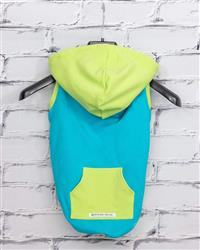 """Nacho"" Bamboo Fleece Sleeveless Dog Hoodie (blue/green)"