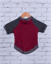 """Mason"" Bamboo Dog Crew Sweater Fleece (burgundy/grey)"