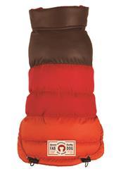 fabdog Colorblock Puffer Dog Coat Brown/Red/Orange