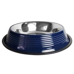 Ribbed No Tip Non Skid Bowl for Cats and Dogs - Poseidon Blue