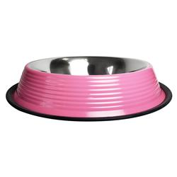 Ribbed No Tip Non Skid Bowl for Cats and Dogs - Carnation Pink