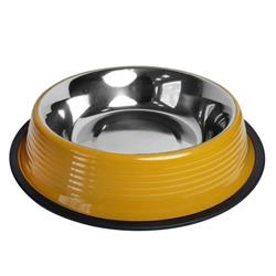 Ribbed No Tip Non Skid Bowl for Cats and Dogs - Golden Yellow