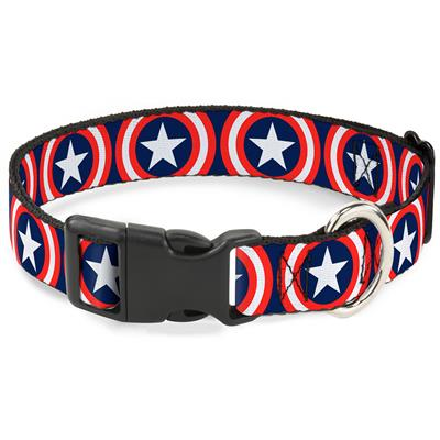 """Imported Plastic Clip Collar - Captain America Shield Repeat Navy - Large 15-26"""""""