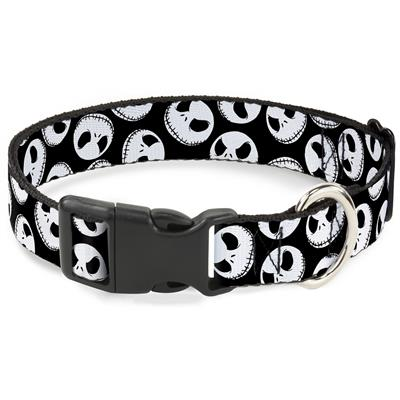 """Imported Plastic Clip Collar - Nightmare Before Christmas Jack Expressions Scattered Black/White - Large 15-26"""""""