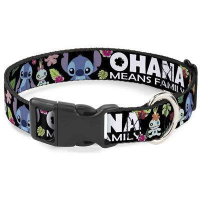 """Imported Plastic Clip Collar - OHANA MEANS FAMILY/Stitch & Scrump Poses/Tropical Flora Black/White/Multi Color - Large 15-26"""""""