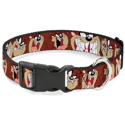 """Imported Plastic Clip Collar - Tasmanian Devil Expressions Brown - Large 15-26"""""""