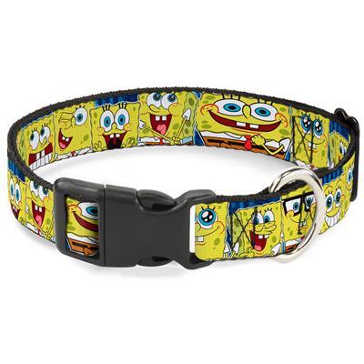 "Imported Plastic Clip Collar - SpongeBob Expressions Stripe Blue - Large 15-26"""