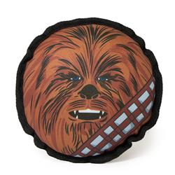 Dog Toy Ballistic Squeaker - Round Star Wars Chewbacca Face CLOSE-UP Brown