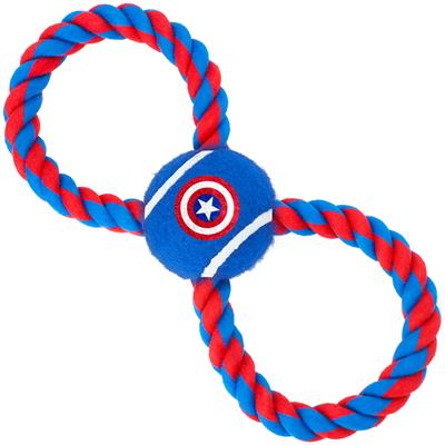 Dog Toy Rope Tennis Ball - Captain America Shield Blue + Blue/Red Rope