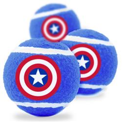 Dog Toy Squeaky Tennis Ball 3-PACK - Captain America Shield Blue