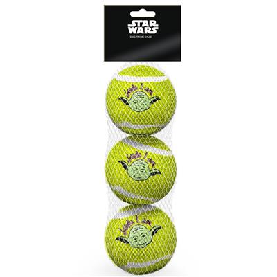 Dog Toy Squeaky Tennis Ball 3-PACK - Star Wars Yoda Face YODA I AM Quote Lime Green