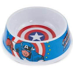 "Single Melamine Pet Bowl - 7.5"" (16oz) - Captain America Shield + CAPTAIN AMERICA Action Pose Blue/Red/White"