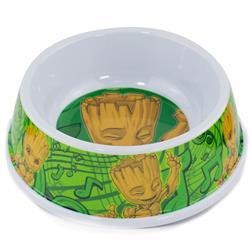 "Single Melamine Pet Bowl - 7.5"" (16oz) - Groot Happy Pose + Groot Poses/Music Notes Greens"
