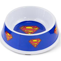 "Single Melamine Pet Bowl - 7.5"" (16oz) - Superman Shield Blue"