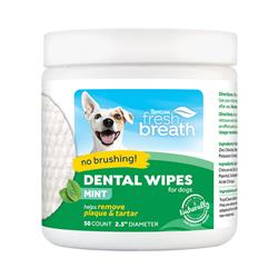 Fresh Breath No Brushing Clean Teeth Dental & Oral Care Dental Wipes for Dogs, 50ct